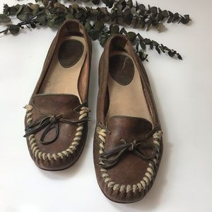 Frye Alex Camp Distressed Leather Moccasins- 8.5